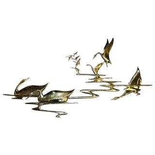 Bijan Vintage Solid Brass Waterfowl Wall Scuplture