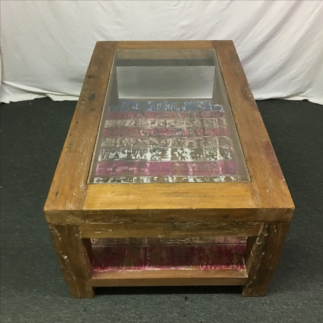Image of Rustic Whitewashed Coffee Table