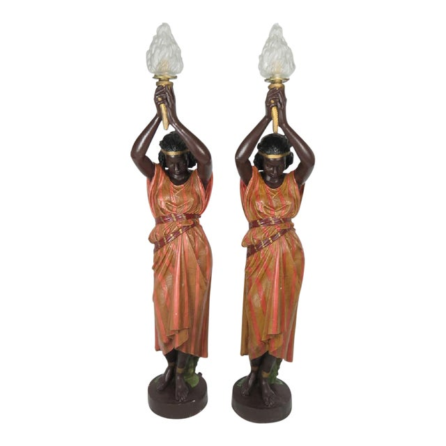 Image of 1930s Vintage Patinated Metal female Nubian Torcheres - a Pair