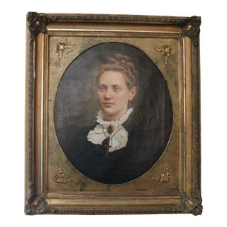 1879 Antique Portrait Oil Painting
