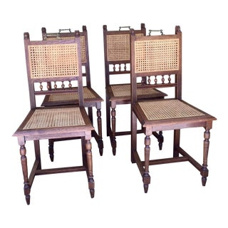 French Renaissance Cane Chairs - Set of 4