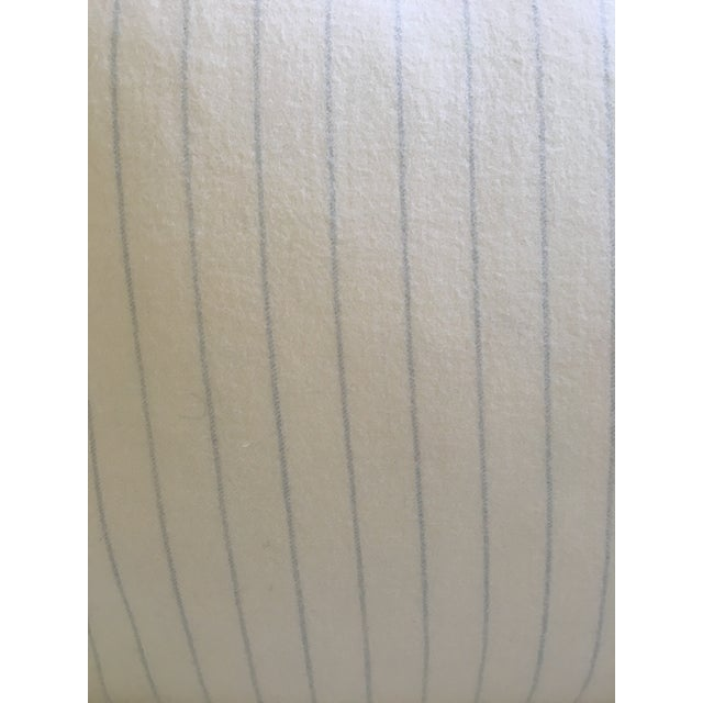 Holland & Sherry Ivory With Pale Blue Pinstripe Wool Pillow Cover - Image 6 of 8