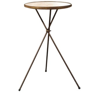 French Vintage Round Three Legged Drinks Table with Cream Marble Top