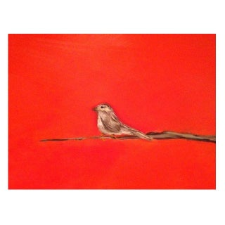 Red Painting of Bird on Canvas