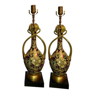Italian Ardalt Daliso Lustro Floral Lamps - A Pair