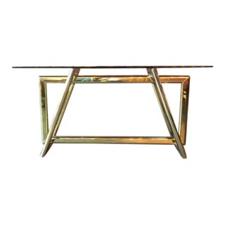 Vintage Sculptural Brass Glass Top Console Table
