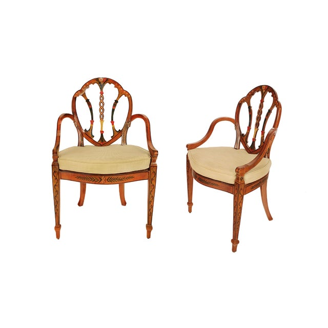 Hand Painted Satinwood Arm Chairs - Pair - Image 1 of 2