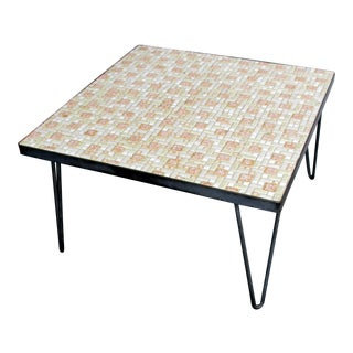 Mosaic Mid-Century Modern Orange and White Coffee Table Patio Furniture