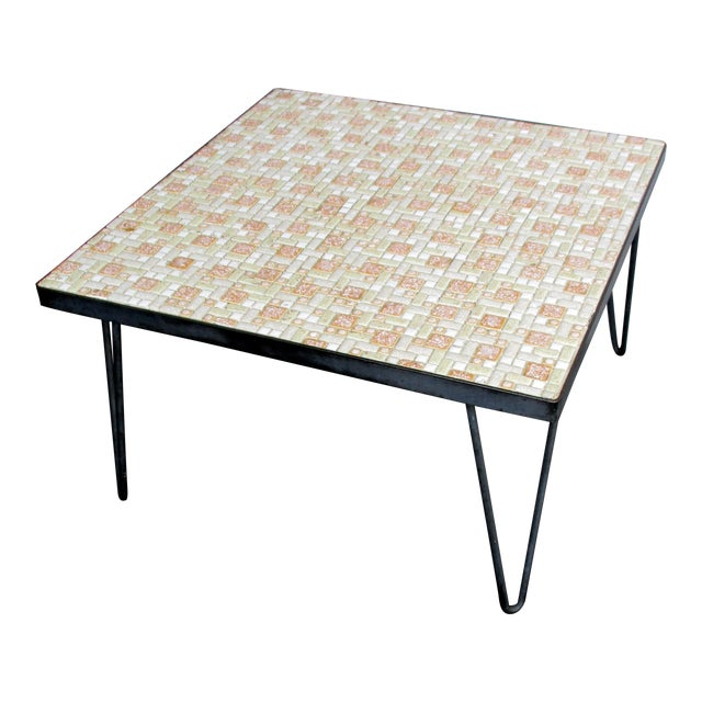 Mosaic Mid-Century Modern Orange and White Coffee Table Patio Furniture - Image 1 of 11