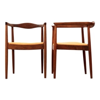Vintage Danish Sculpted Teak Arm Chairs - a Pair