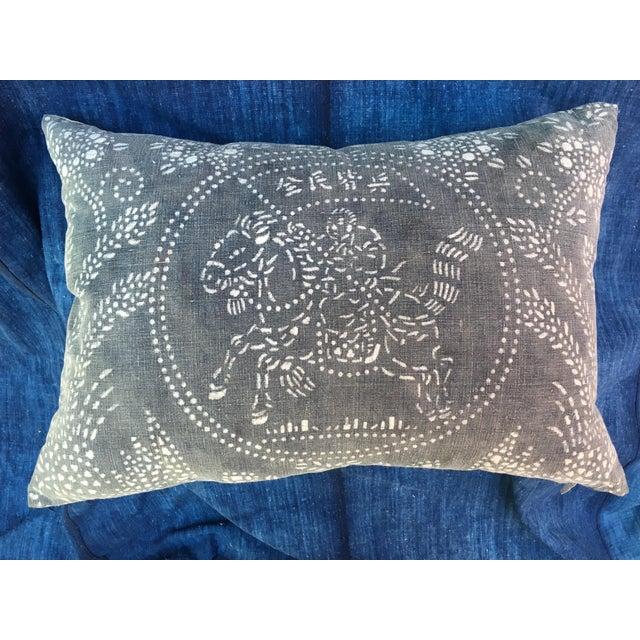 Gray Chinese Warrior Batik Pillow - Image 2 of 8