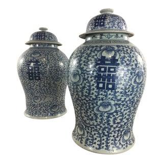 Blue & White Urns - A Pair