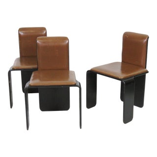 Italian Modern Ebonized Teak & Leather Chairs - Set of 3