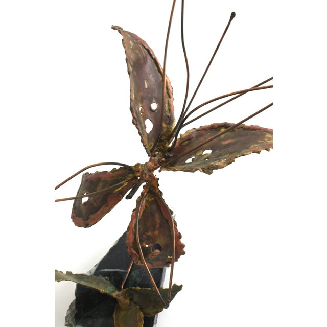 Copper Kinetic Butterfly Sculpture - Image 6 of 6
