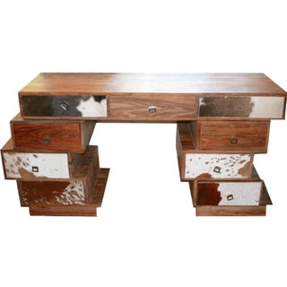 Stacked Cowhide Desk