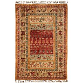 "Turkish Tribal Hand Knotted Orange Wool Area Rug - 3' 6"" X 5' 1"""