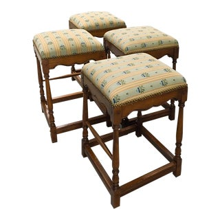 Set of Four Upholstered French Counter Stools