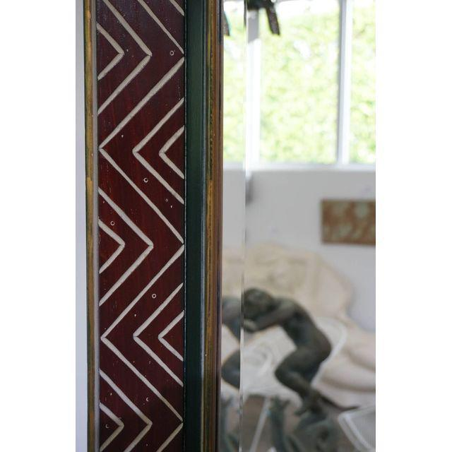 Art Deco Egyptian Revival Style Incised Chevron Pattern Frame Wall Mirror - Image 4 of 6