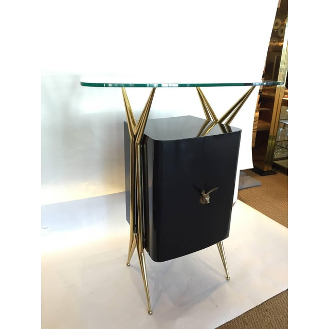 Italian Modernist Dry Bar with Floating Glass Top and Brass Accents - Image 2 of 6