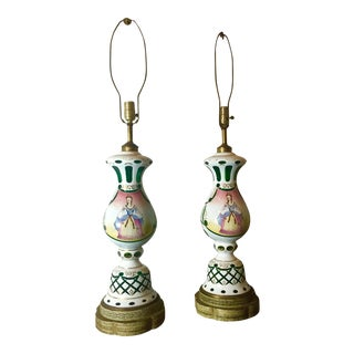 Green and White Bohemia Glass Lamps - A Pair