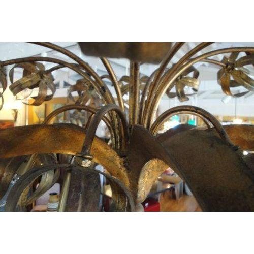 60's Brutalist Style Gilt Metal Chandelier - Image 4 of 10