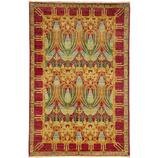 """Arts & Crafts Hand Knotted Area Rug - 4'0"""" X 6'0"""""""
