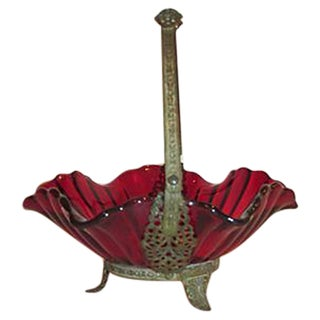 Antique Ruby Red Brides Basket