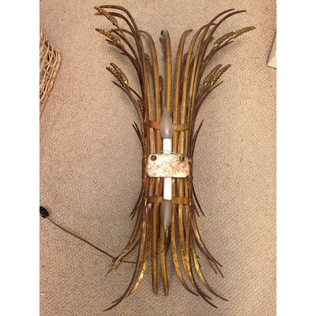 Vintage Gold Gilt Wheat Sheaf Wall Sconce - Image 6 of 7