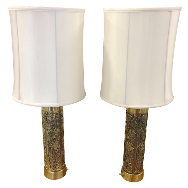 Vintage Floral Brass Table Lamps - A Pair - Image 1 of 6