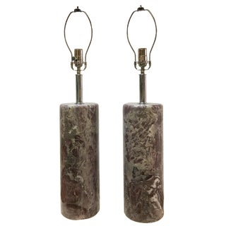 Nessen Solid Purple Marble Lamps - A Pair