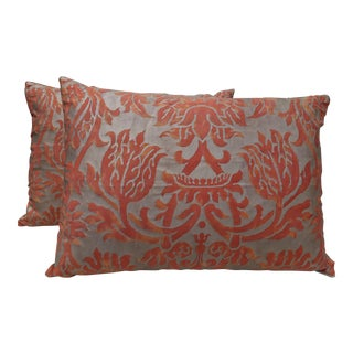 Orange & Gold Fortuny Pillows - A Pair