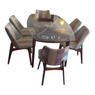 Adrian Pearsall Glass Dining Table & 6 Chairs