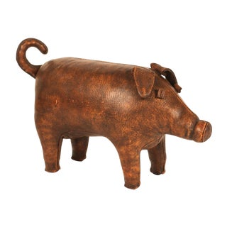 Hand Stitched Leather Piggy Ottoman