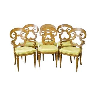 Biedermeier Style Set of 6 Burl Wood Vintage Dining Chairs