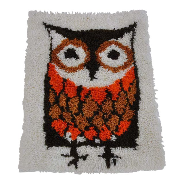Vintage Owl Hooked Rug / Wall Hanging
