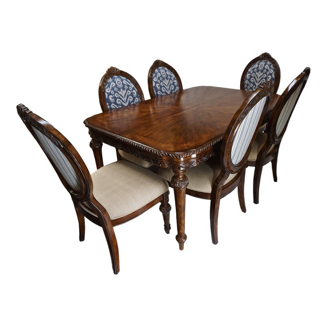 French Dining Table with 6 Ikat Oval Back Chairs - Image 1 of 11