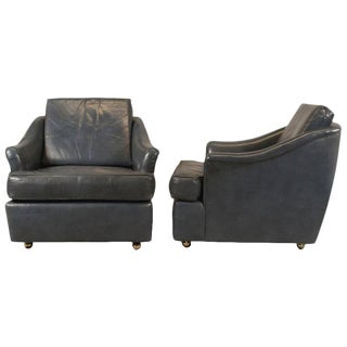 Edward Wormley for Dunbar Leather Club Chairs - A Pair