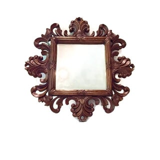 Vintage Solid Wood Ornate Gothic Carved Mirror
