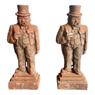 Antique Winston Churchill Cast Iron Andirons - a Pair