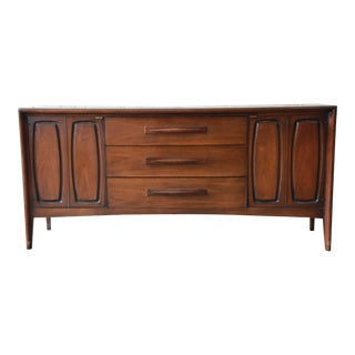 Broyhill Emphasis Mid-Century Modern Sculpted Walnut Credenza