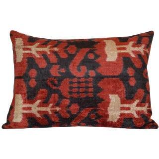 Black Red And Beige Silk Velvet Ikat Pillow