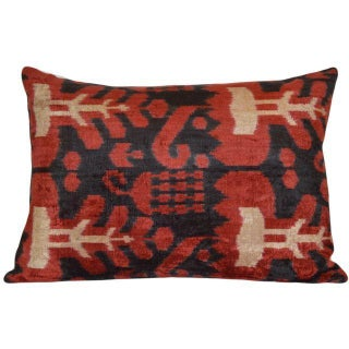 Black Red And Beige Silk Velvet Ikat Pillow
