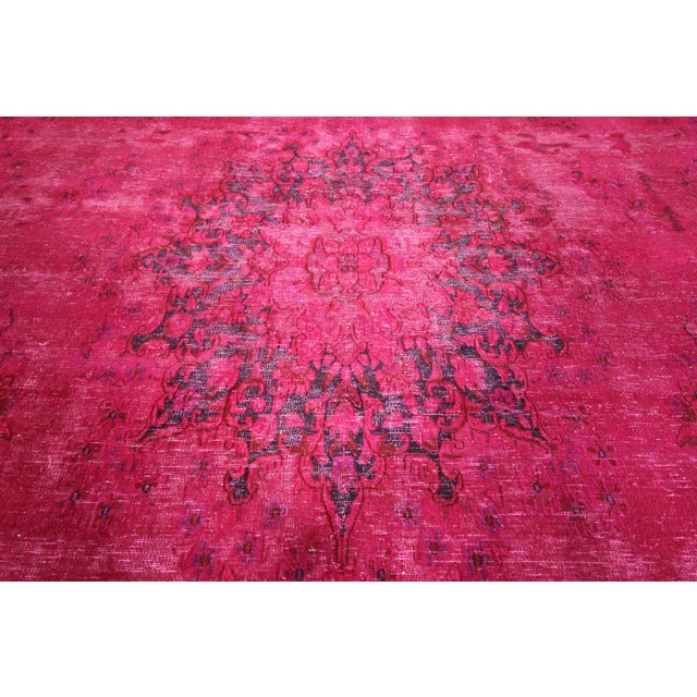 "Pink Overdyed Oriental Floral Rug - 9'6"" x 14'10"" - Image 8 of 10"