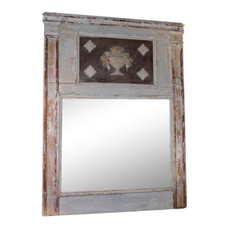 Circa 1900 Italian Carved and Painted Trumeau Mirror