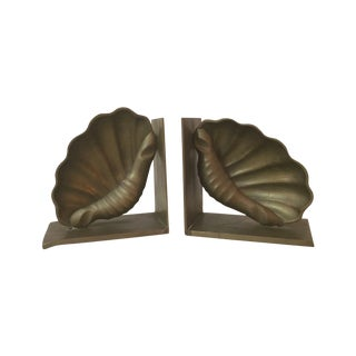 1960's Modern Shell Brass Bookends