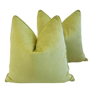 "24"" Custom Tailored Apple Green Velvet Feather/Down Pillows - Pair"