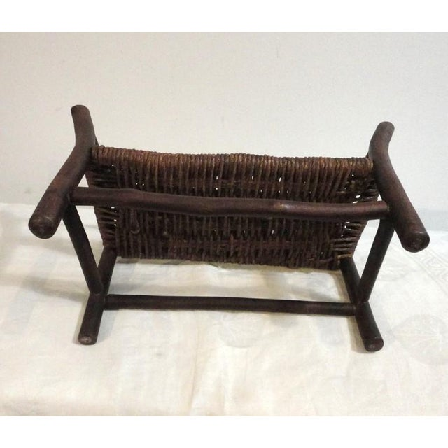 Salesman Sample Old Hickory Settee W/ Original Woven Seat - Image 3 of 6