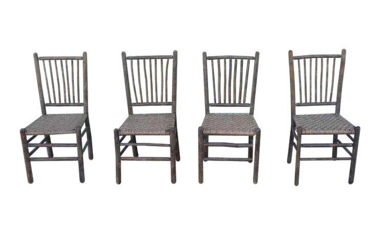 Good Signed Old Hickory Original Grey Painted Hickory Chairs