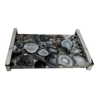 Agate Tray With Chrome Handles