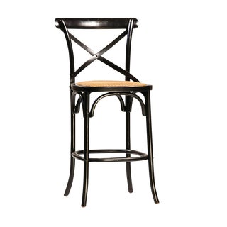 Black Painted Oak Counter Stool